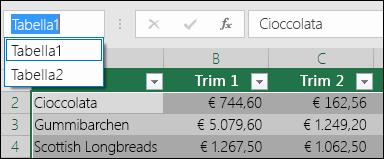 Barra degli indirizzi di Excel a sinistra della barra della formula