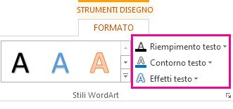 Gruppo Stili WordArt nella scheda Strumenti disegno - Formato
