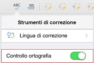 Attivare il controllo ortografia