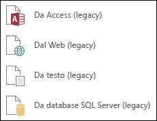 Ottenere le procedure guidate Legacy dati esterni