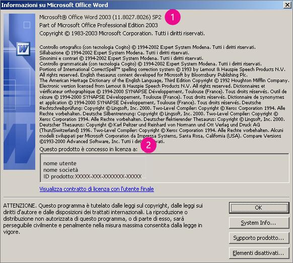 Finestra Informazioni su Microsoft Office Word 2003
