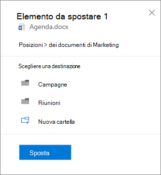 Screenshot dello spostamento di un file da OneDrive for business a un sito di SharePoint