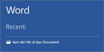Elenco dei documenti usati più di recente