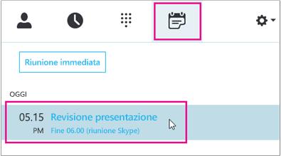 Partecipare a una riunione dalla scheda Riunione Skype for Business