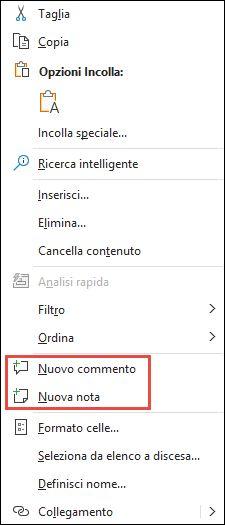 Immagine del menu di scelta rapida di Excel visualizzato facendo clic con il pulsante destro del mouse