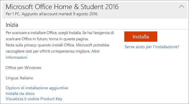 Mostra il collegamento Visualizza il codice Product Key per un'installazione unica di Office