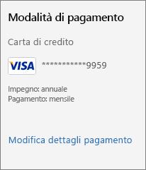 """Screenshot del collegamento """"Modifica dettagli pagamento""""."""