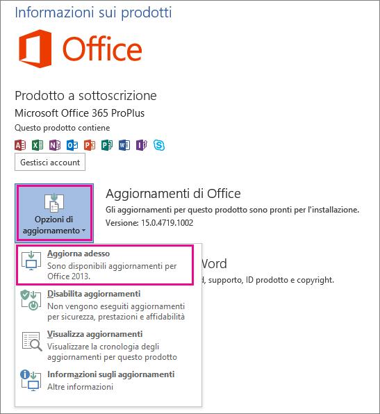 Verifica della presenza di aggiornamenti di Office in Word 2013