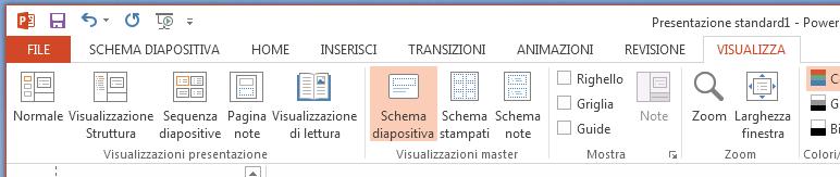 Pulsante schema diapositiva è nella scheda Visualizza della barra multifunzione.