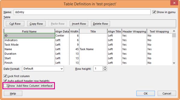 Finestra di dialogo Definizione tabella