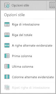 Opzioni stile tabella in Windows Mobile