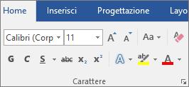 In Word, nel gruppo Carattere della scheda Home, scegliere il tipo e le dimensioni del carattere.