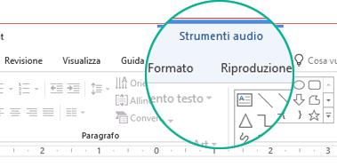 """Quando si seleziona un clip audio in una diapositiva, sulla barra multifunzione viene visualizzata la sezione """"Strumenti audio"""", che contiene due schede: Formato e Riproduzione."""