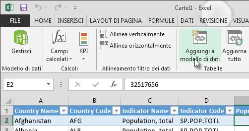 Aggiungere nuovi dati nel modello di dati