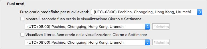 Mostra il secondo e il terzo fuso orario nelle preferenze del calendario