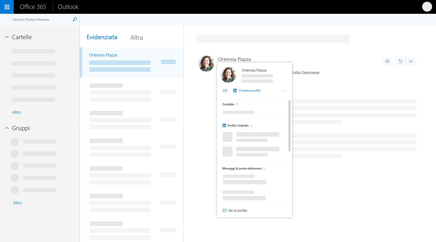 Scheda profilo in Outlook sul web
