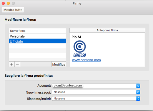 Pagina delle preferenze Firme di Outlook
