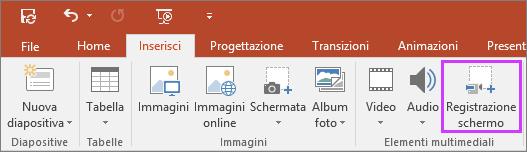 Pulsante Inserisci registrazione schermo in PowerPoint2016