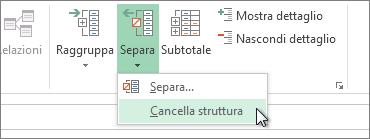 Fare clic su Separa, quindi su Cancella struttura