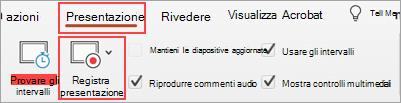 Schermata della scheda Presentazione e del pulsante Registra presentazione delineato
