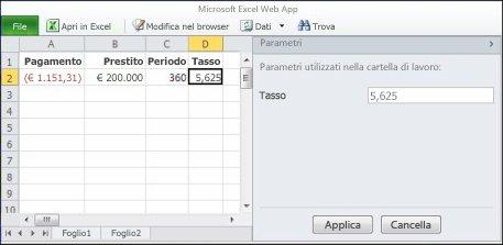 Utilizzo di un parametro nel browser