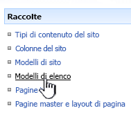 Collegamento ai modelli di elenco nel menu Raccolte