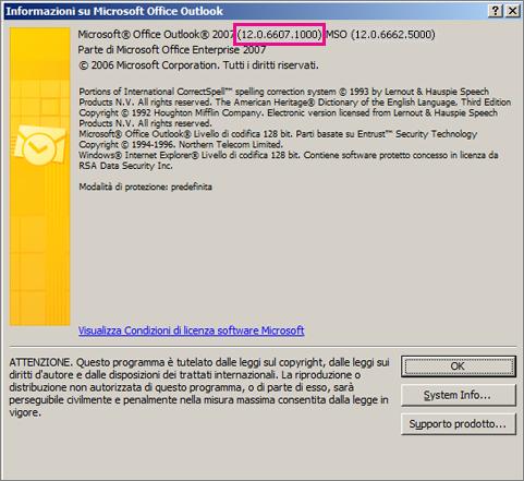"""Screenshot che mostra dove viene visualizzato il numero di versione di Outlook 2007 nella finestra di dialogo """"Informazioni su Microsoft Office Outlook""""."""