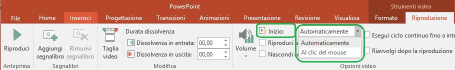 Per i video inseriti dal computer, è possibile scegliere di avviarli automaticamente o selezionandoli.