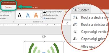 I comandi di rotazione sono disponibili nella scheda Formato di Strumenti di disegno della barra degli strumenti. Selezionare l'oggetto da ruotare, quindi fare clic sulla barra multifunzione.