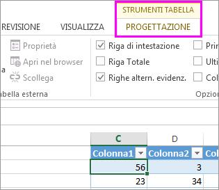 Strumenti tabella sulla barra multifunzione