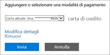 """Screenshot del collegamento """"Modifica dettagli"""" nella pagina Modifica dettagli pagamento"""