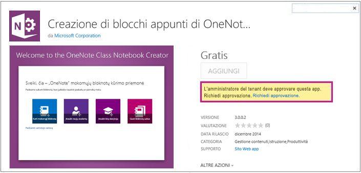 Screenshot della pagina dei dettagli dell'applicazione con il collegamento Richiesta approvazione evidenziato