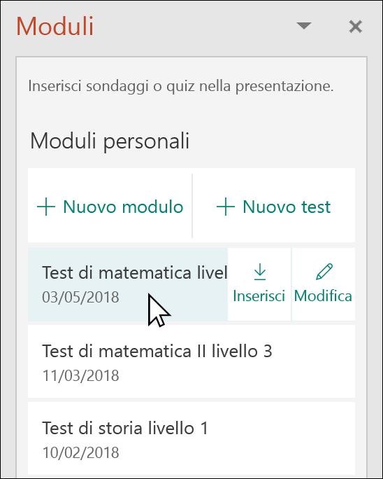Inserire un modulo o un quiz dal riquadro Microsoft Forms in PowerPoint