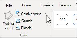 Pulsante Modifica forma nella scheda formato di Strumenti SmartArt