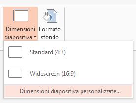 Scegliere Dimensioni diapositiva personalizzate dal menu Dimensioni diapositiva.