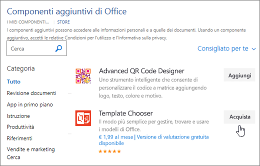 Schermata della pagina di componenti aggiuntivi di Office in cui è possibile selezionare o cercare un componente aggiuntivo per Word.