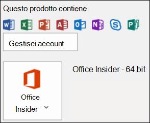 Per trovare la versione di Outlook in uso, vedere File > Account di Office.