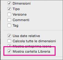Opzione Mostra cartella Libreria in Opzioni Vista