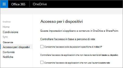 Scheda Accesso dispositivo dell'interfaccia di amministrazione di OneDrive
