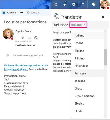 Selezionare la lingua in cui verrà tradotto il testo del messaggio in Outlook.com e Outlook sul Web