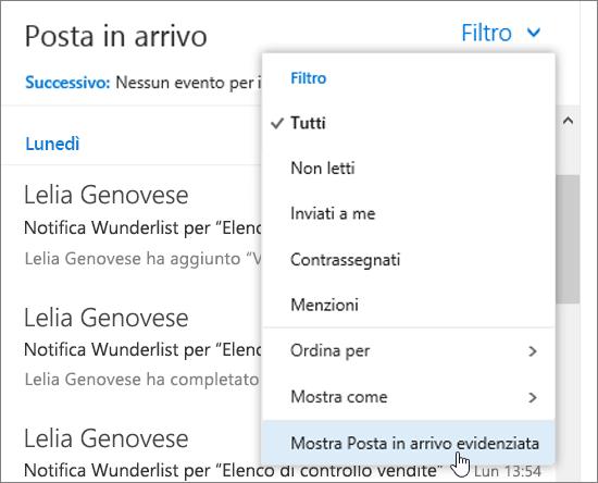 Screenshot del menu Filtra con l'opzione Mostra Posta in arrivo evidenziata selezionata
