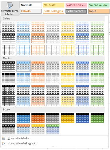 Raccolta stili tabella di Excel