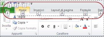 quadratini dei suggerimenti dei tasti di scelta sulla barra multifunzione