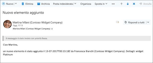 Messaggio di posta elettronica inviato da Microsoft Flow quando un elemento modificato