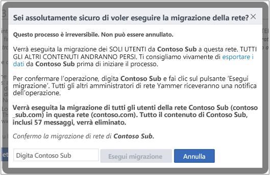 Screenshot della finestra di dialogo che chiede di confermare che si vuole eseguire la migrazione di una rete Yammer