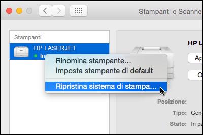 Tenendo premuto CTRL fare clic sull'elenco di stampanti per accedere al comando di reimpostazione del sistema di stampa in OSX