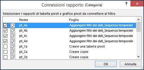 Connessioni rapporto del filtro dei dati da Strumenti filtro dati > Opzioni