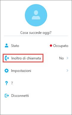 Opzione di inoltro di chiamata nella schermata iniziale di Skype for Business per iOS