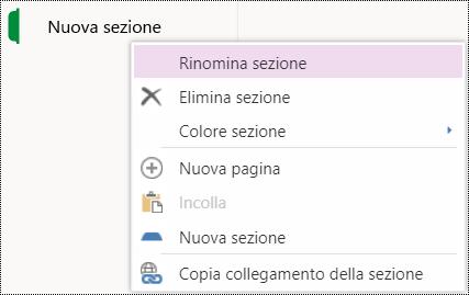 Opzione Rinomina sezione in OneNote Online.