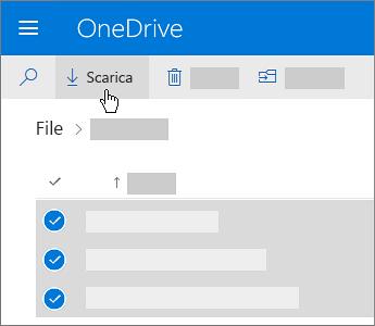Screenshot che illustra la selezione e il download dei file di OneDrive.